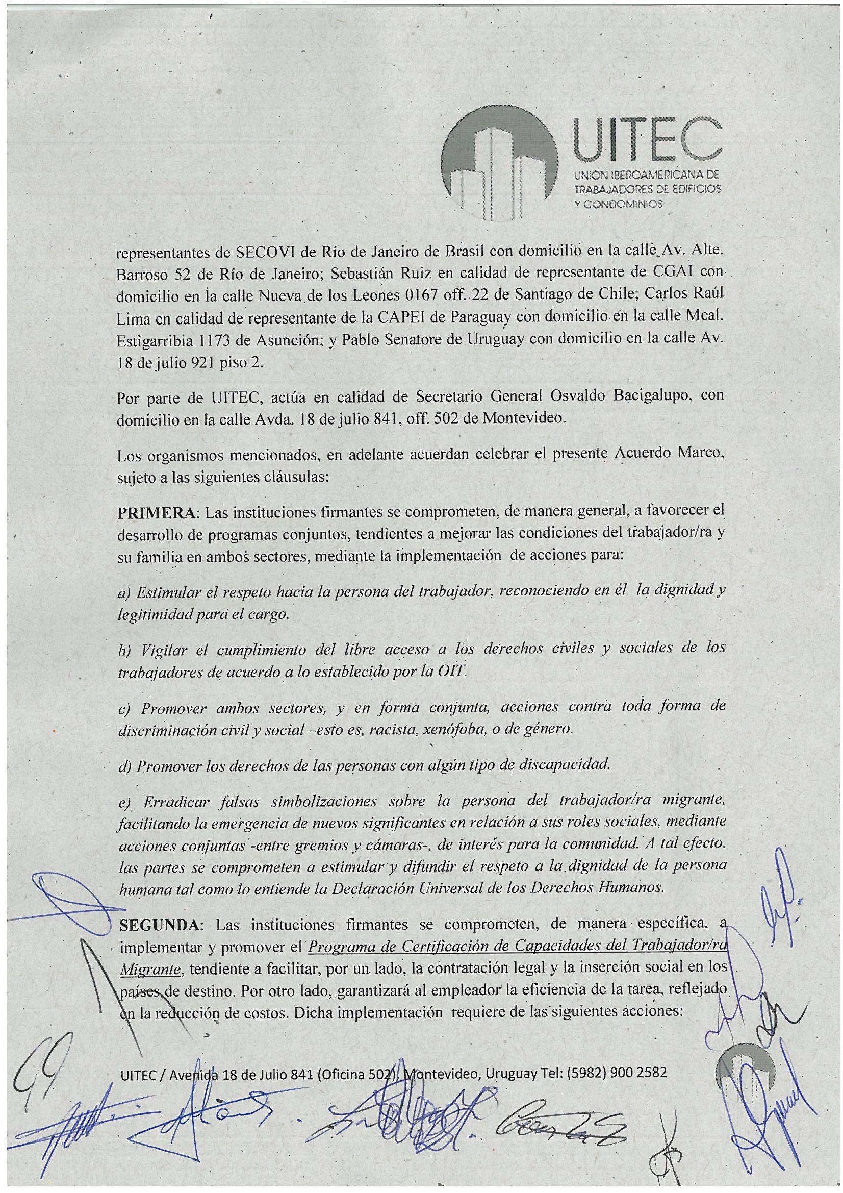Convenio marco Sindicato de trabajadores y Cámaras de Propiedad ...