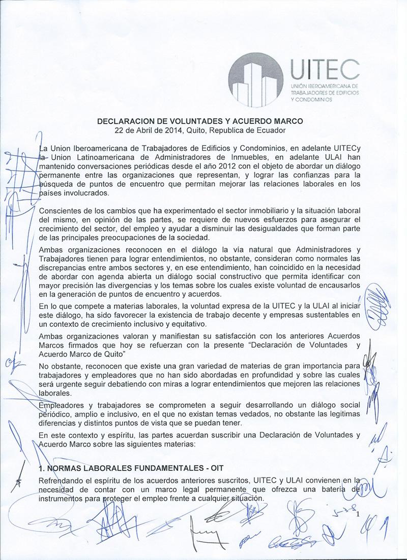 Convenio marco entre Sindicato de trabajadores y cámaras de la ...